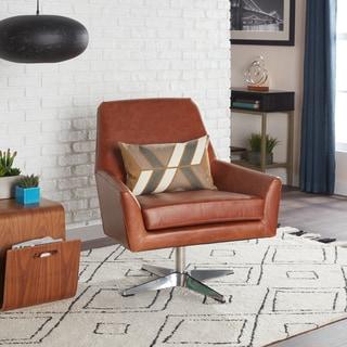 Carson Carrington Lisbon Saddle Leather Swivel Chair