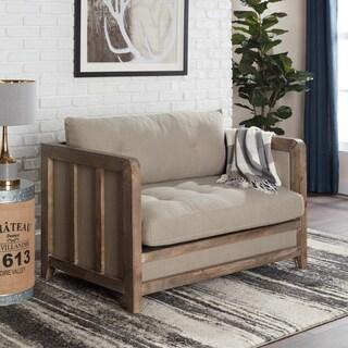 Havenside Home Creston Beige Linen Love Seat