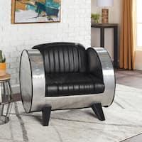 Carbon Loft Hawking Barrel Modern Black Leather Chair