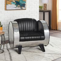 Stones & Stripes Barrel Modern Black Leather Chair
