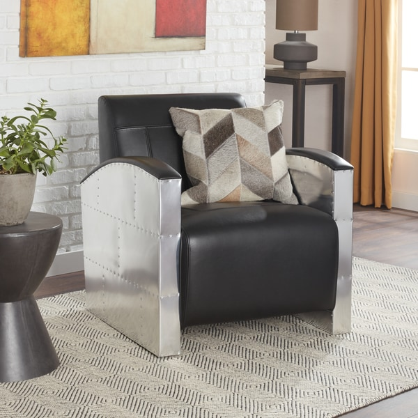 Strick & Bolton Brooklyn Industrial Modern Black Leather Chair