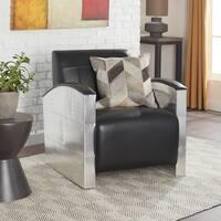 Carbon Loft Brooklyn Industrial Modern Black Leather Chair
