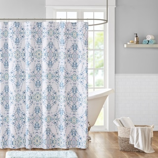 Madison Park Erica Blue Cotton Sateen Printed Shower Curtain