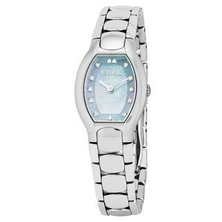 Ebel Women's 1216249 'Beluga Tonneau' Blue Mother of Pearl Diamond Dial Stainless Steel Swiss Quartz Watch