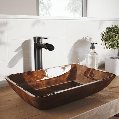 VIGO 18 in. Rectangular Russet Glass Vessel Bathroom Sink Set With Niko Vessel Faucet in Antique Rubbed Bronze