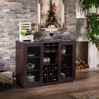 Furniture of america misenia walnut sliding door buffet for Furniture of america alton modern multi storage buffet espresso
