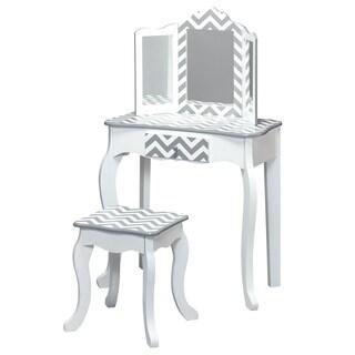 Teamson Kids - Fashion Prints Vanity Table & Stool Set - Grey Chevron