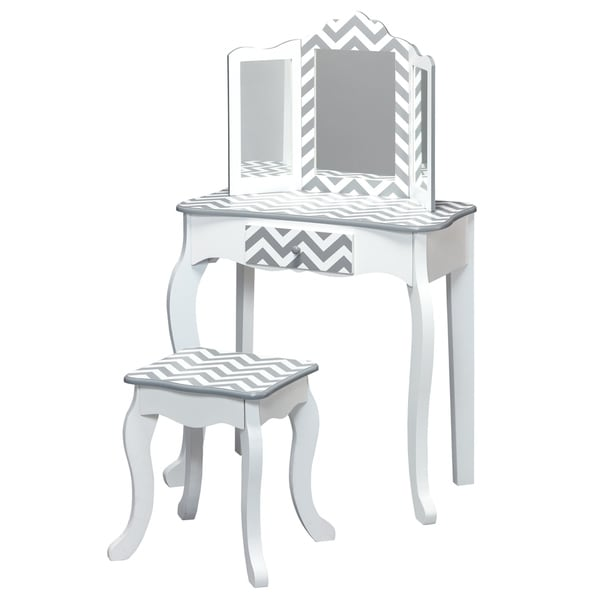 Teamson Kids - Fashion Prints Vanity Table & Stool Set - Grey Chevron