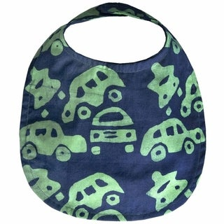 Hand Batiked Cotton Baby Bib - Lime Cars (Ghana)
