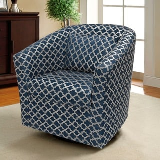 Lifestyle Solutions Terrance Blue Pattern Barrel Swivel Chair