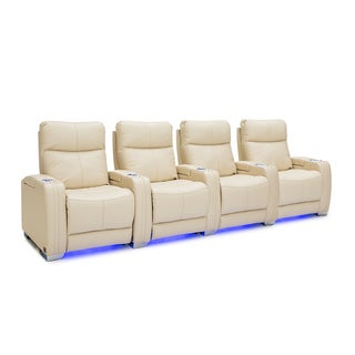 Seatcraft Solstice Leather Home Theater Seating Power Recline with Powered Headrest and Lumbar Support Cream Row of 4