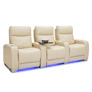 Seatcraft Solstice Leather Home Theater Seating Power Recline with Powered Headrest and Lumbar Support Cream Row of 3