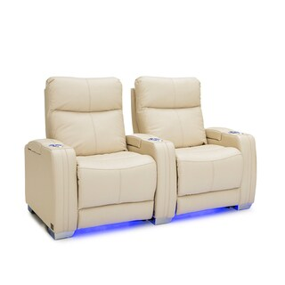 Seatcraft Solstice Leather Home Theater Seating Power Recline with Powered Headrest and Lumbar Support Cream Row of 2
