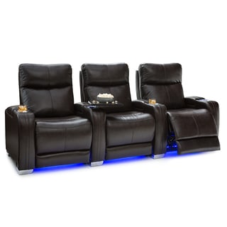 Seatcraft Solstice Leather Home Theater Seating Power Recline - Row of 3, Brown
