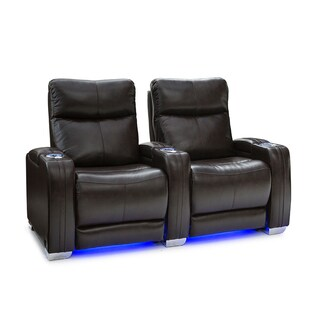 Seatcraft Solstice Brown Leather Power Recline Home Theater Seating Power (Row of 2)