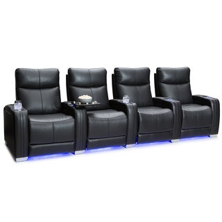 Seatcraft Solstice Leather Home Theater Seating Power Recline - Row of 4, Black