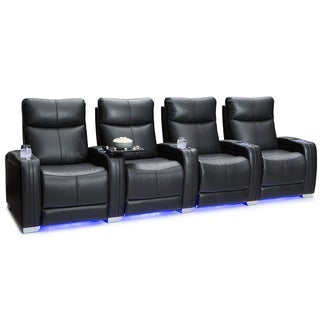 Seatcraft Solstice Leather Home Theater Seating Recline With Ed Headrest And Lumbar Support Black Row