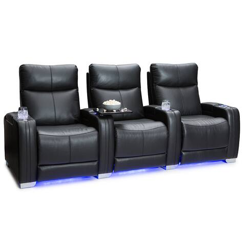 Seatcraft Solstice Leather Home Theater Seating Power Recline with Powered Headrest and Lumbar Support Black Row of 3