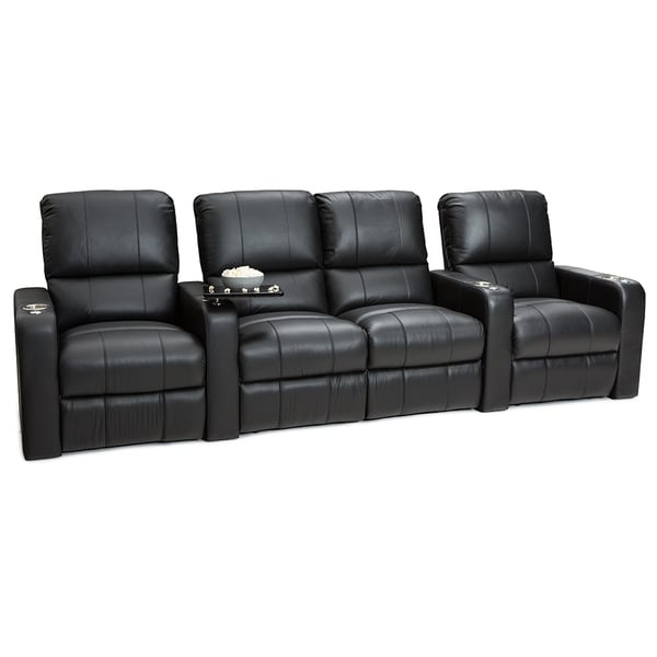 Seatcraft Millenia Black Leather Row Of 4 Seats With