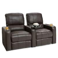 Seatcraft Millenia Leather Home Theater Seating Power Recline with Cup Holders Brown Row of 2