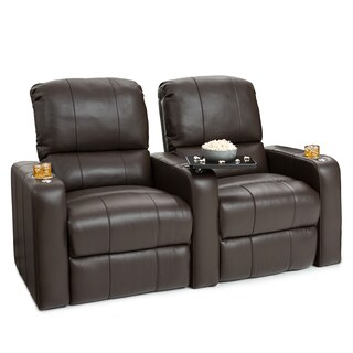 Seatcraft Millenia Brown Leather Row of 2 Power Recline Home Theater Seating