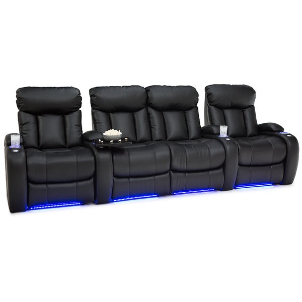 Seatcraft Orleans Black Leather Gel Manual Recliner Home