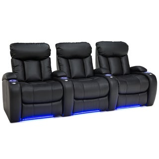 Seatcraft Orleans Leather Gel Home Theater Seating Manual Recline - Row of 3, Black