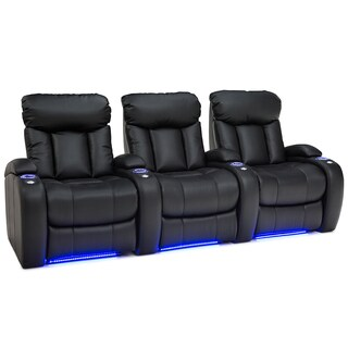 Seatcraft Orleans Black Gel Leather Home Theater Seating with Manual Recline (Row of 3)