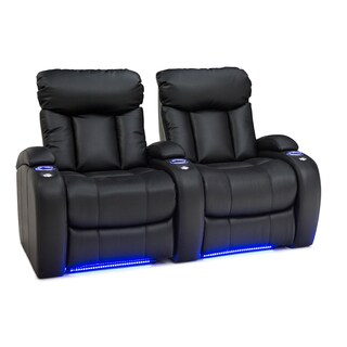 Seatcraft Orleans Black Leather Gel Row of 2 Manual Recline Home Theater Seats