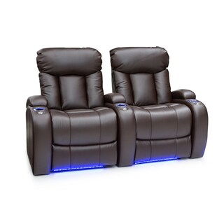Seatcraft Orleans Leather Gel Home Theater Seating Power Recline with Cup Holders Brown Row of 2