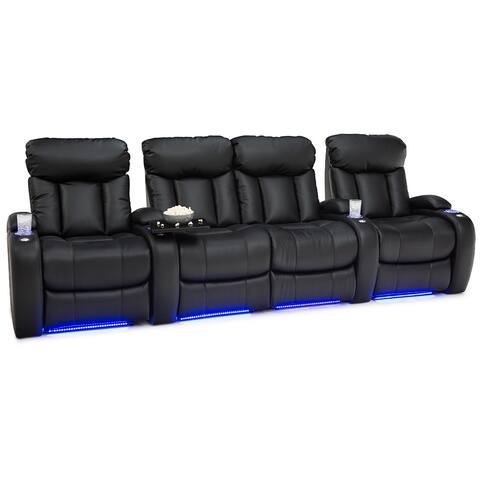 Seatcraft Orleans Leather Gel Home Theater Seating Power Recline with Cup Holders Black Row of 4 with Middle Loveseat