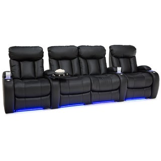 Seatcraft Orleans Black Leather Gel Recline Row Of 4 Home Theater Seats With Loveseat