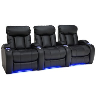 Seatcraft Orleans Black Leather Gel Row of 3 Power Recline Home Theater Seats