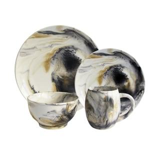 American Atelier Marble Tortise Grey 16-piece Dinnerware Set