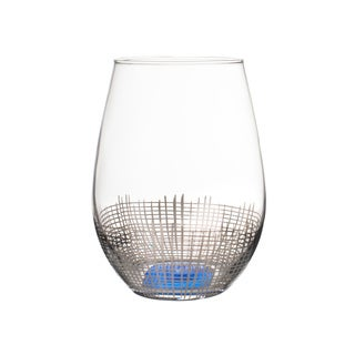Annalise Silver /Blue Stemless Glasses - Set of 4