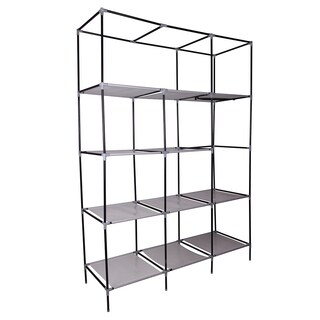 Grey Steel Tube 69-inch Portable Closet Organizer with Shelves