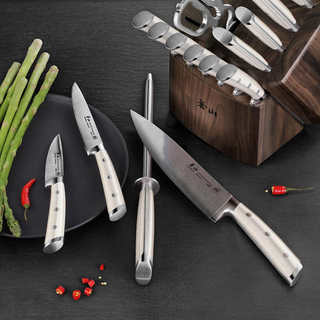 Cangshan S1 Series 17-piece Forged German Steel Knife Set with Walnut Block