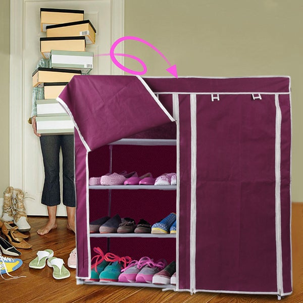 Brown Plastic Portable Shoe Shelf Rack with Cover