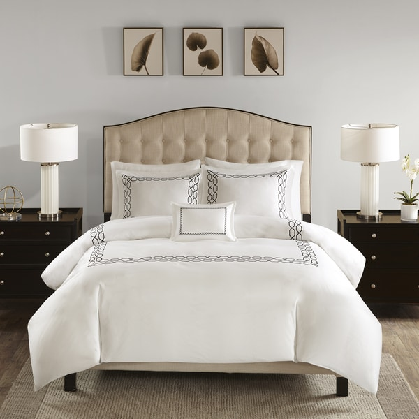 Madison Park Signature Oversized Collection 1000 Thread Count Embroidered 5 Pieces Cotton Sateen Comforter Set - 5 Color Option