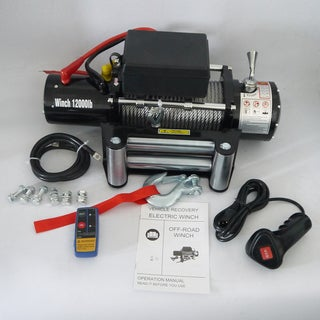 12V Electric 12,000-pound Remote Control Truck/SUV Recovery Winch