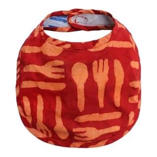 Hand Batiked Cotton Baby Bib - Orange Silverware (Ghana) https://ak1.ostkcdn.com/images/products/17136936/P23403033.jpg?impolicy=medium