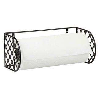 "Sweet Home Collection Mounted Black Metal Lattice Paper Towel Holder (6""x12""x5.2"")"