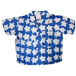 Hand Batiked Cotton Babies Button Down Shirt - Stars Blue (Ghana)