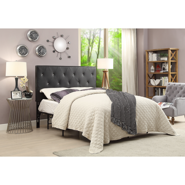 shop contemporary crystal diamond tufted headboard black. Black Bedroom Furniture Sets. Home Design Ideas