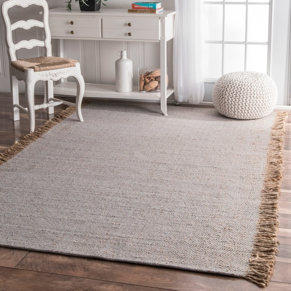 Shop Nuloom Handmade Solid Jute Cotton Fringe Grey Rug 4