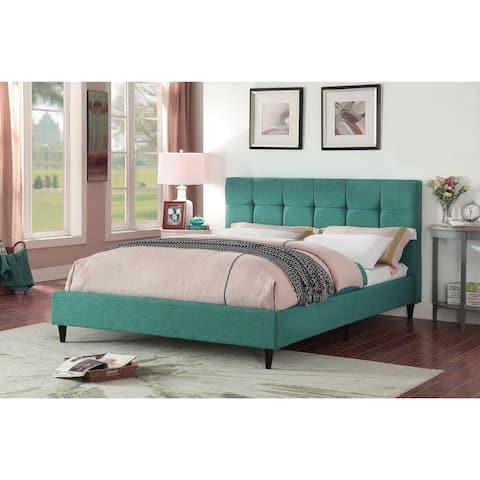 Modern Upholstered Square Stitched Platform Bed with Wooden Slats