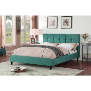 Modern Upholstered Square Stitched Platform Bed with Wooden Slats, Blue