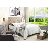 Contemporary Upholstered Tufted Nailhead Headboard, Beige