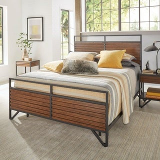 Chico Stacked Cherry Wood and Metal Bed by iNSPIRE Q Modern (Option: King)