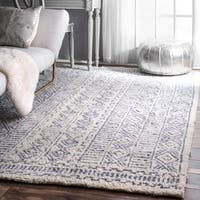 "nuLOOM Handmade Diamond Ridge New Zealand/ Indian Wool Ivory Rug (7'6 x 9'6) - 7'6"" x 9'6"""